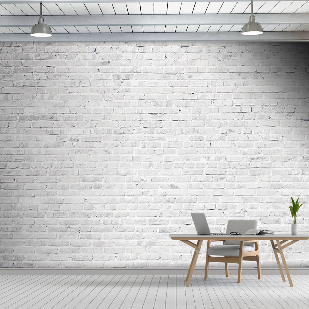 White color knitted brick wall pattern custom wall mural