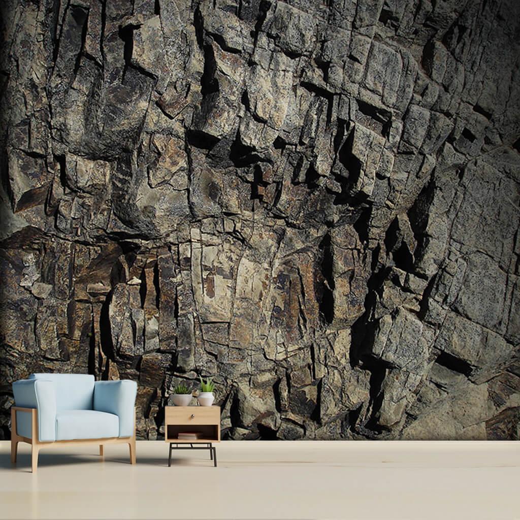 Black color natural granite textured stone rock wall mural