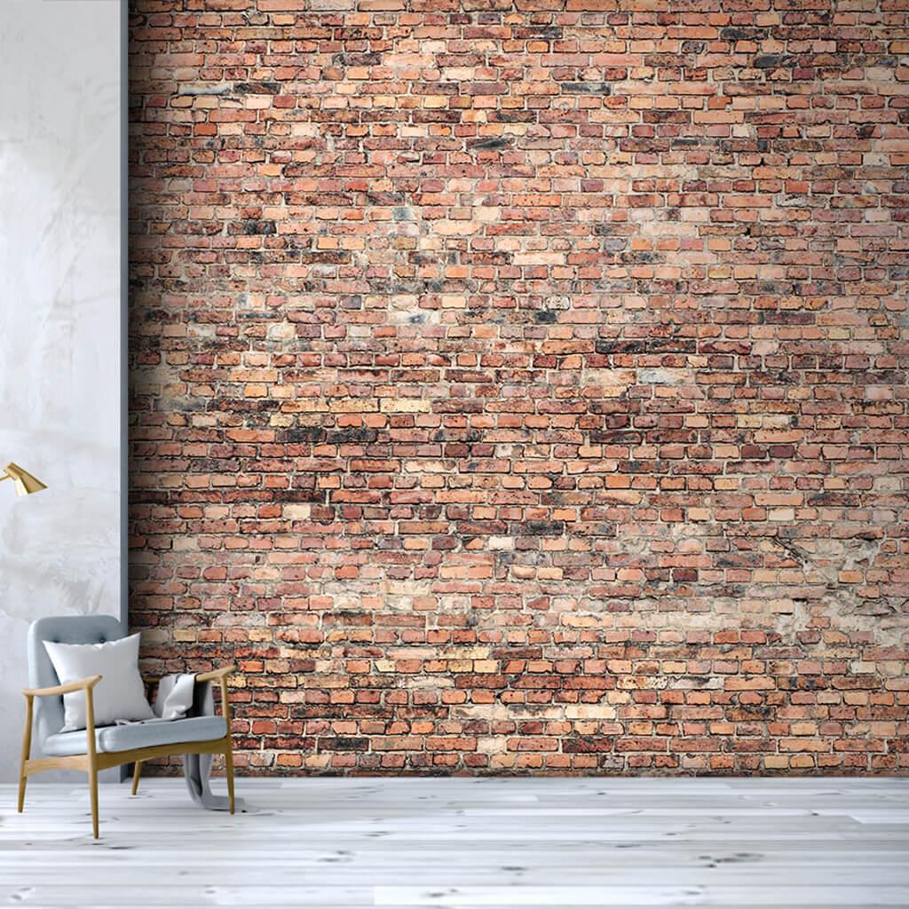 Eski tuğla örme duvar desenli kesit duvar kağıdı