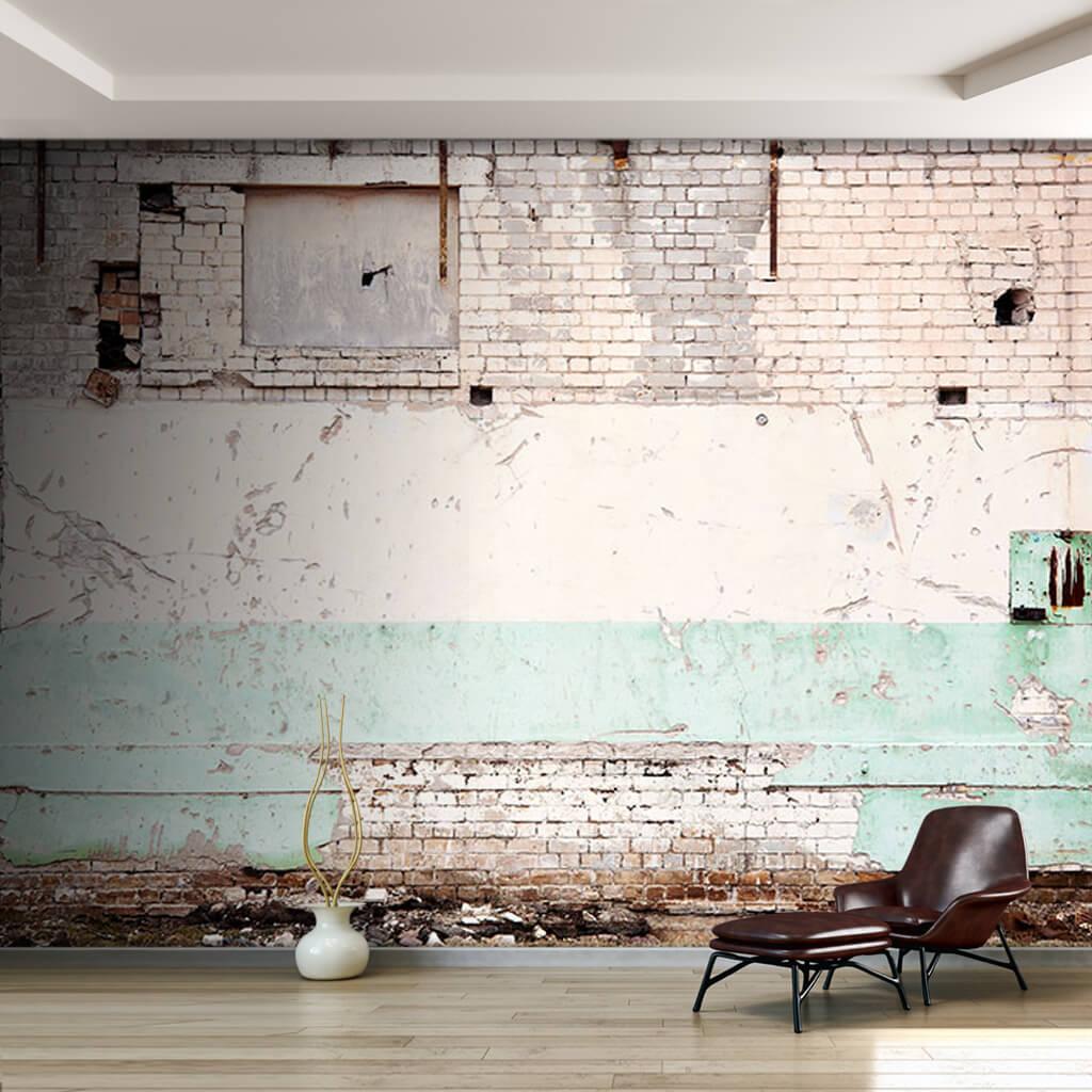 Beyaz renk tuğla ev duvarı 3D duvar kağıdı