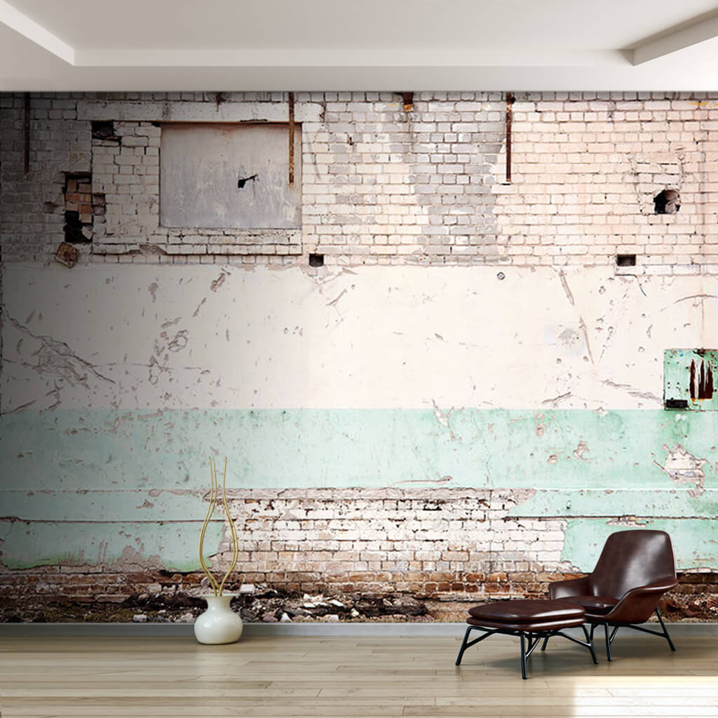 White color brick house wall 3D custom scalable wall mural