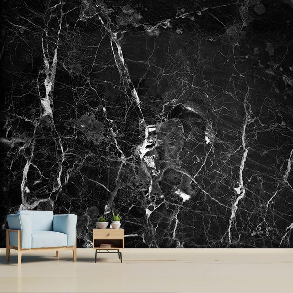 Black colored veined 3D granite stone custom wall mural