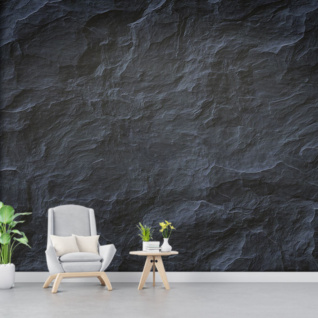 Gray color granite stone rough 3D custom scalable wall mural