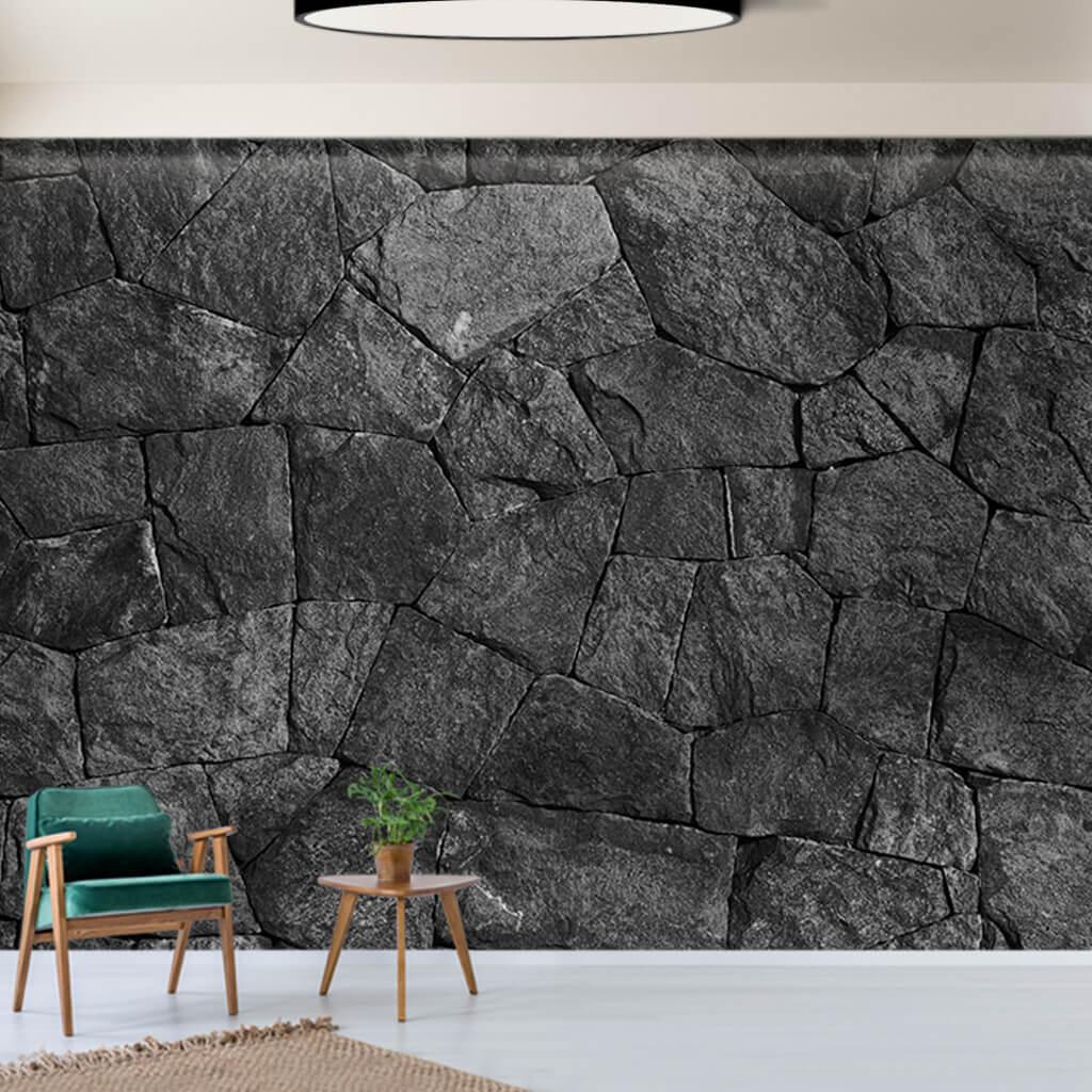 Volkanik kayaç taş gri renkli 3D duvar kağıdı
