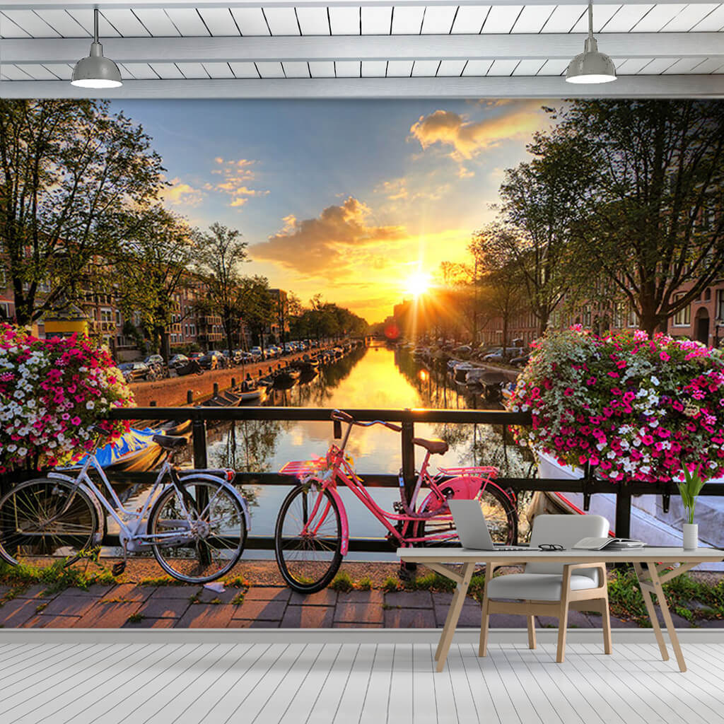 Canal and 2 bicycles at sunset Amsterdam Holland wall mural