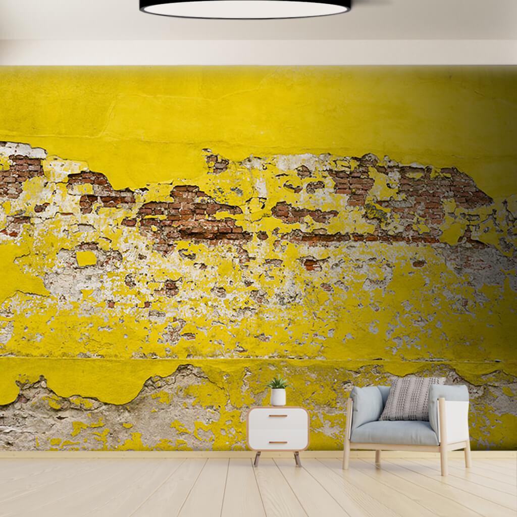 Sarı renk eskitme tuğla örme taş 3D duvar kağıdı