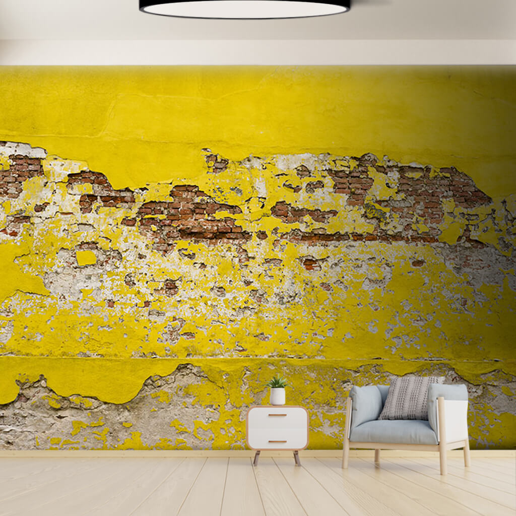 Yellow colored tumbled bricks knitted stone 3D wall mural