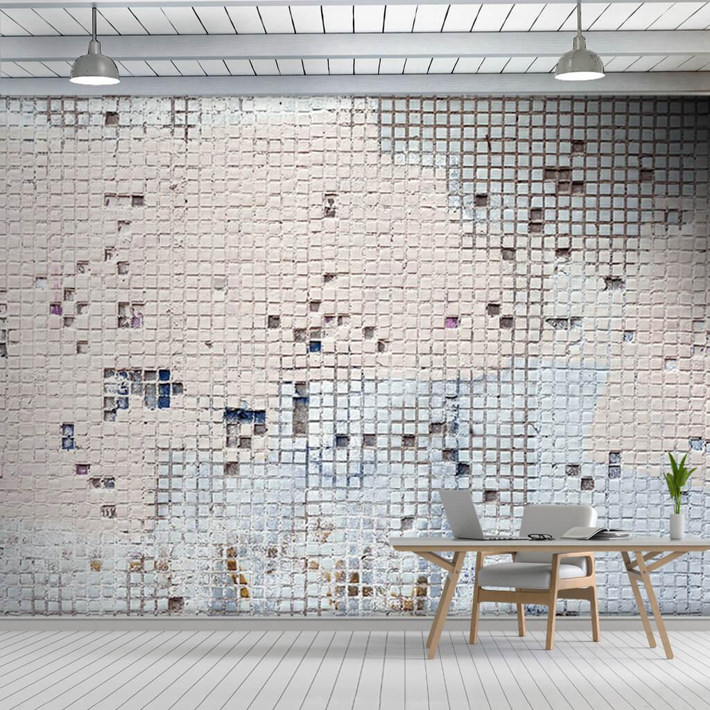 Küçük karelerle mozaik şeklinde alçı sıva duvar kağıdı
