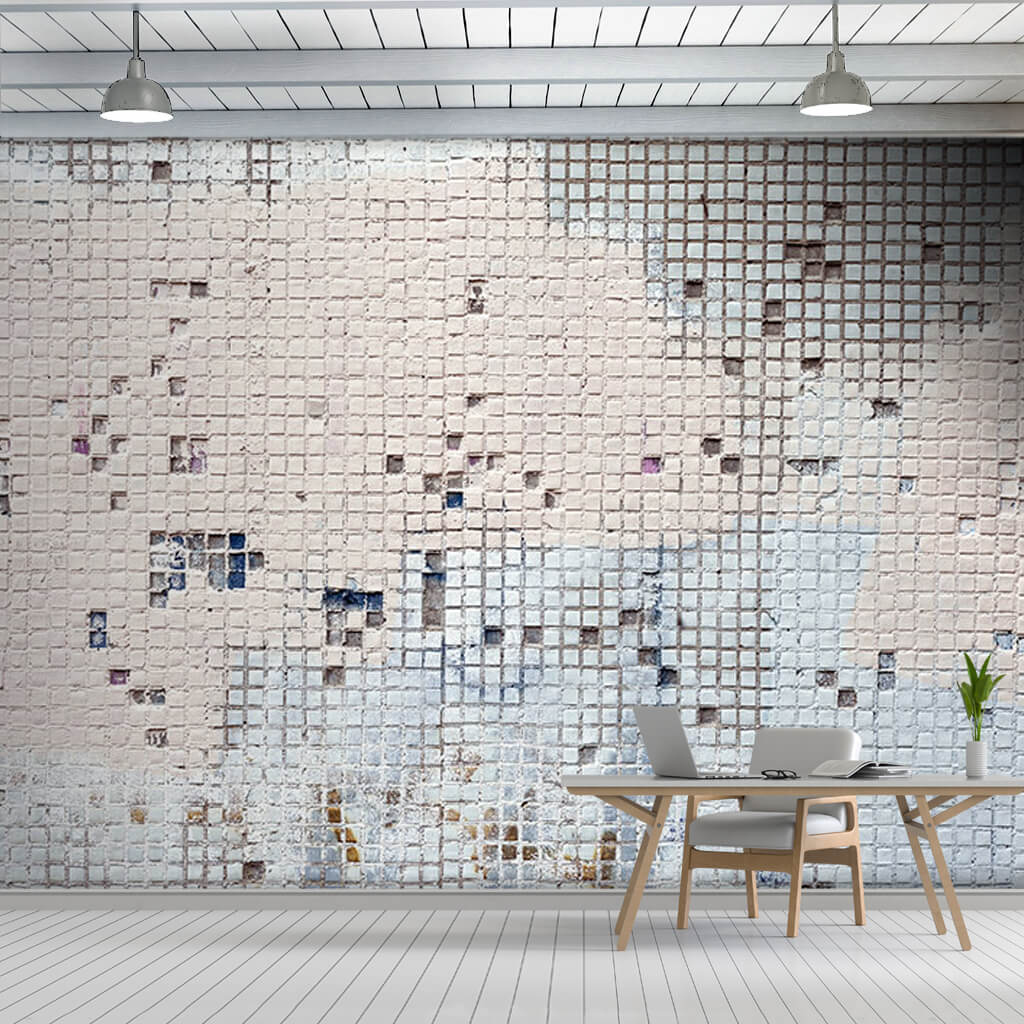 Mosaic shaped gypsum plaster with small squares wall mural