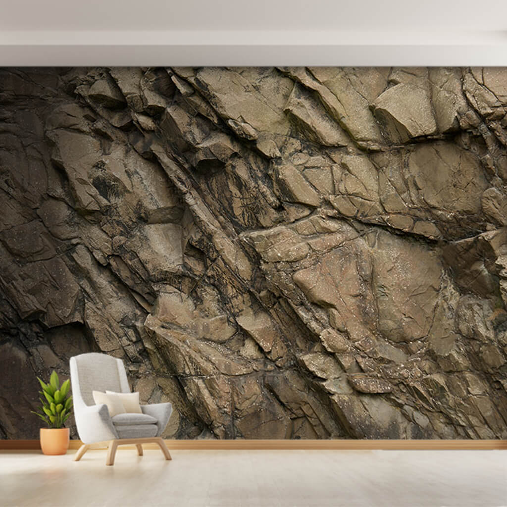 Indented protruding rock section 3D custom wall mural