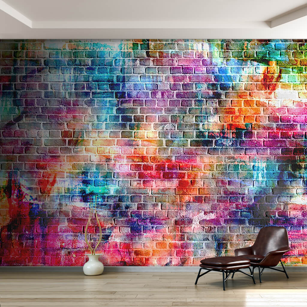 Colorful painted brick wall 3D scalable custom wall mural