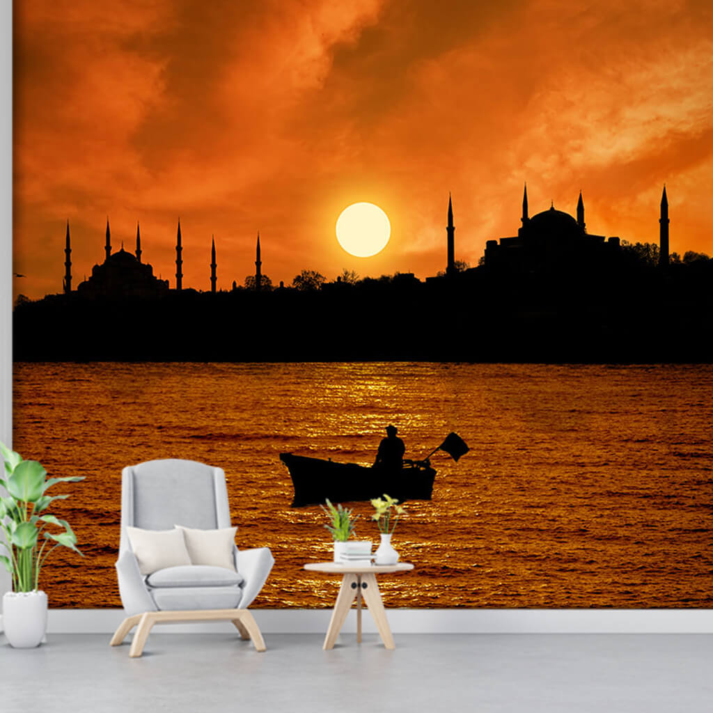Boğazda gün batımı ve balıkçı İstanbul silüeti duvar kağıdı