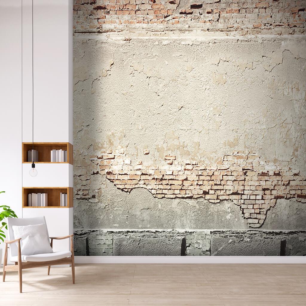 Custom 3D rendering of concrete plaster on brick wall mural