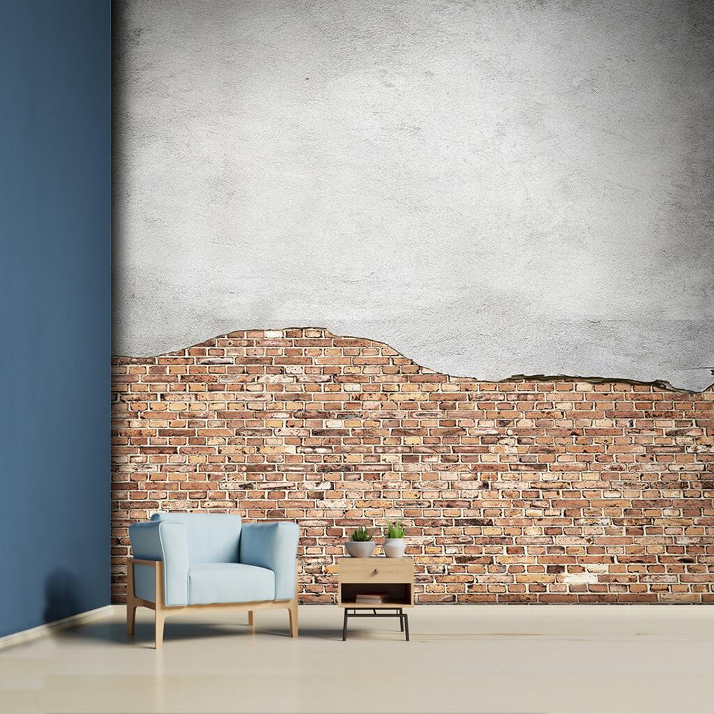 Beton sıva taş tuğla turuncu 3D duvar kağıdı