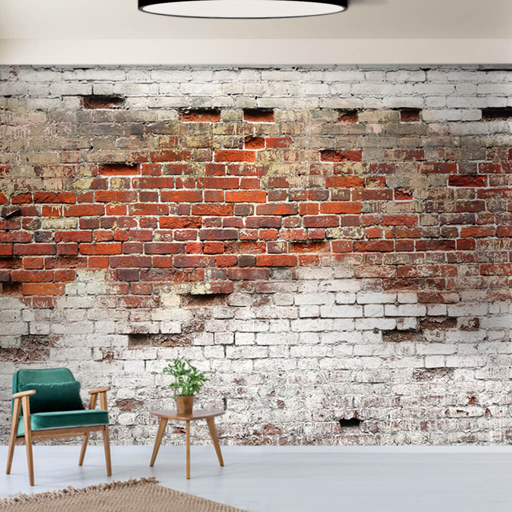 White lime painted brickwork scalable custom wall mural
