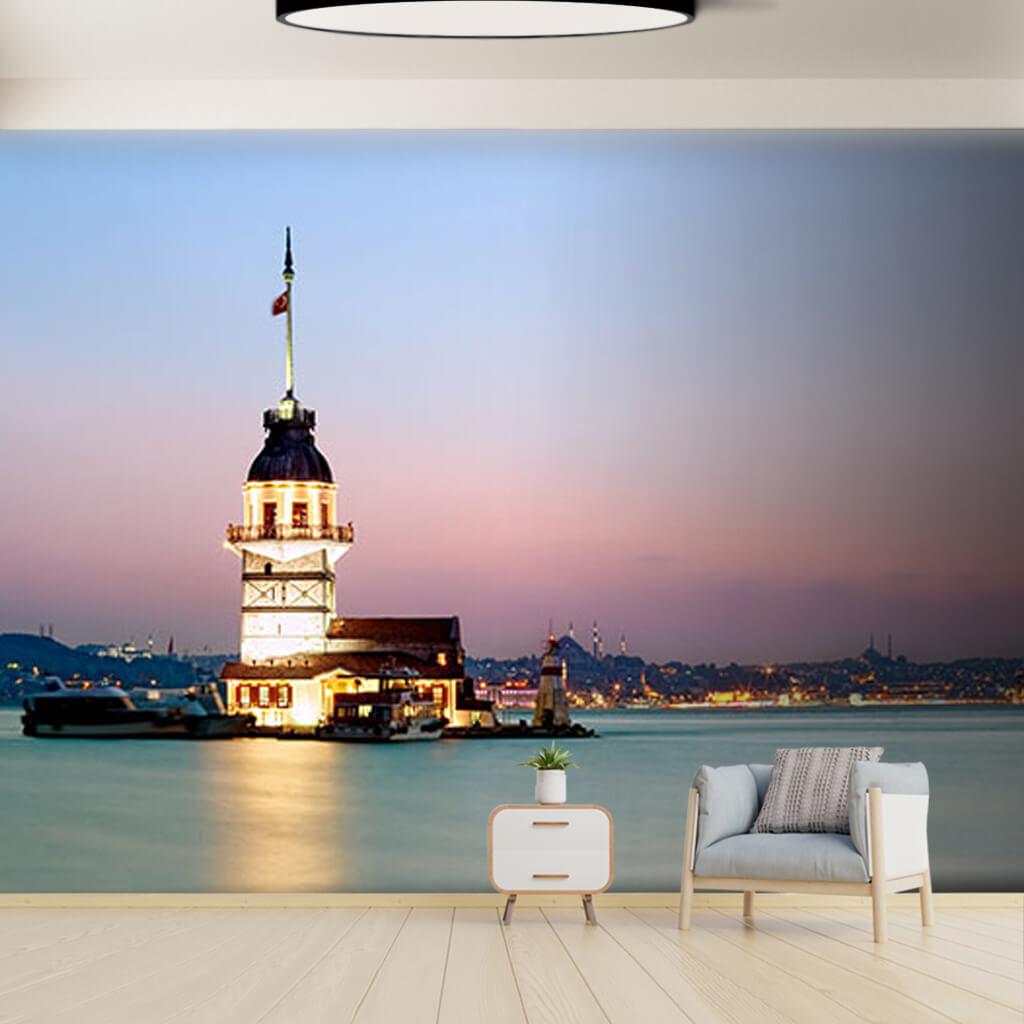 Bosphorus Maiden's Tower at sea panoramic custom wall mural