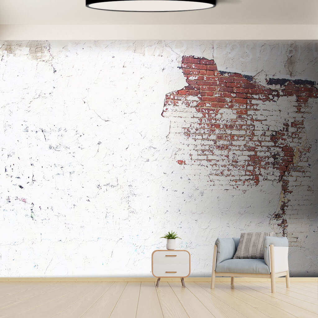 White paint and stucco on brick knitted wall wall mural