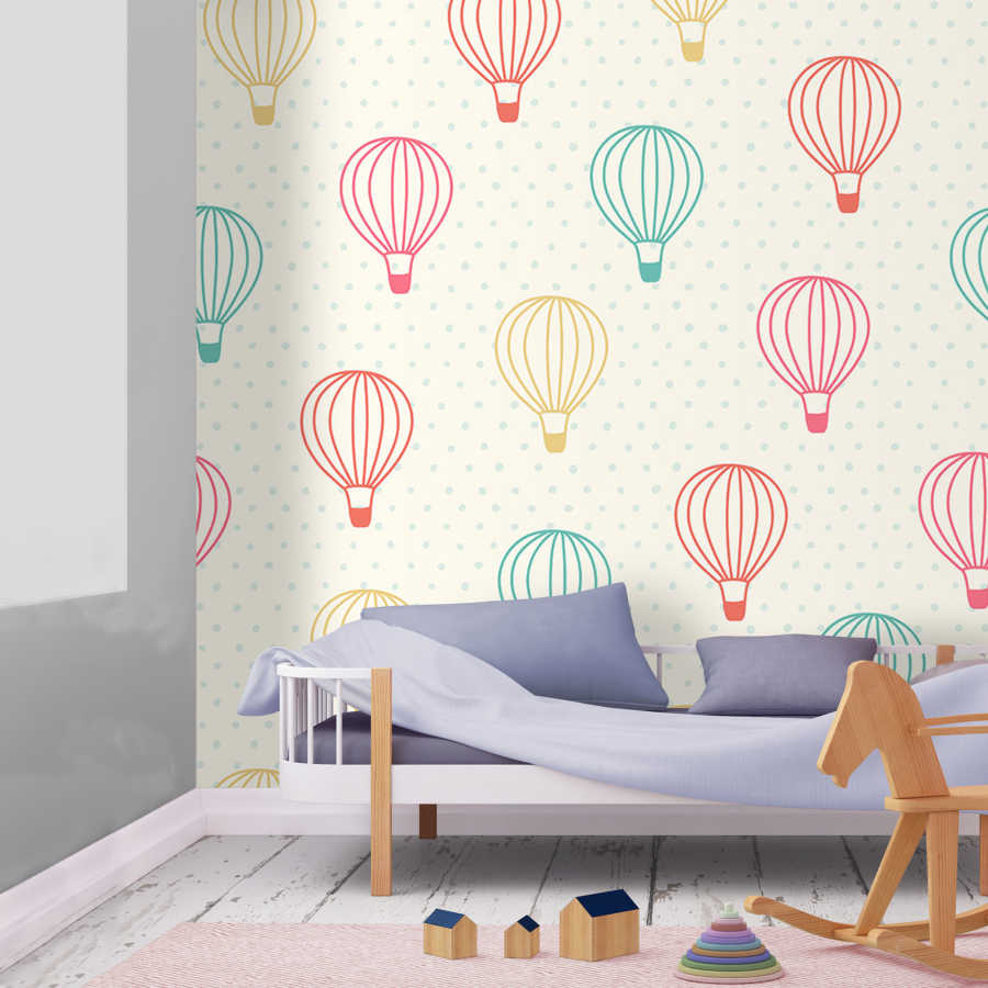 Colorful flying balloon pattern, baby room wall mural. Jr6627
