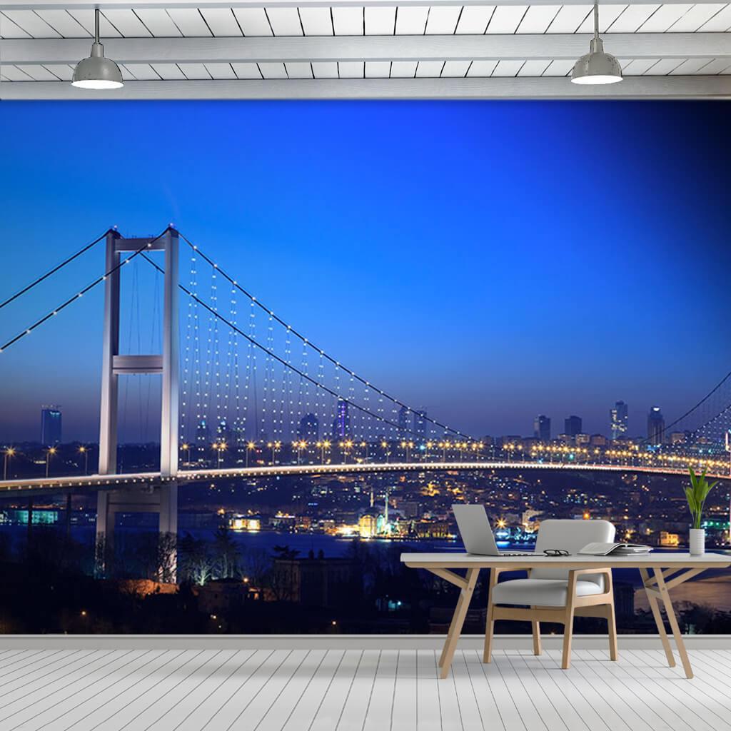 Gece 15 Temmuz Şehitler Köprüsü İstanbul Boğazı duvar kağıdı