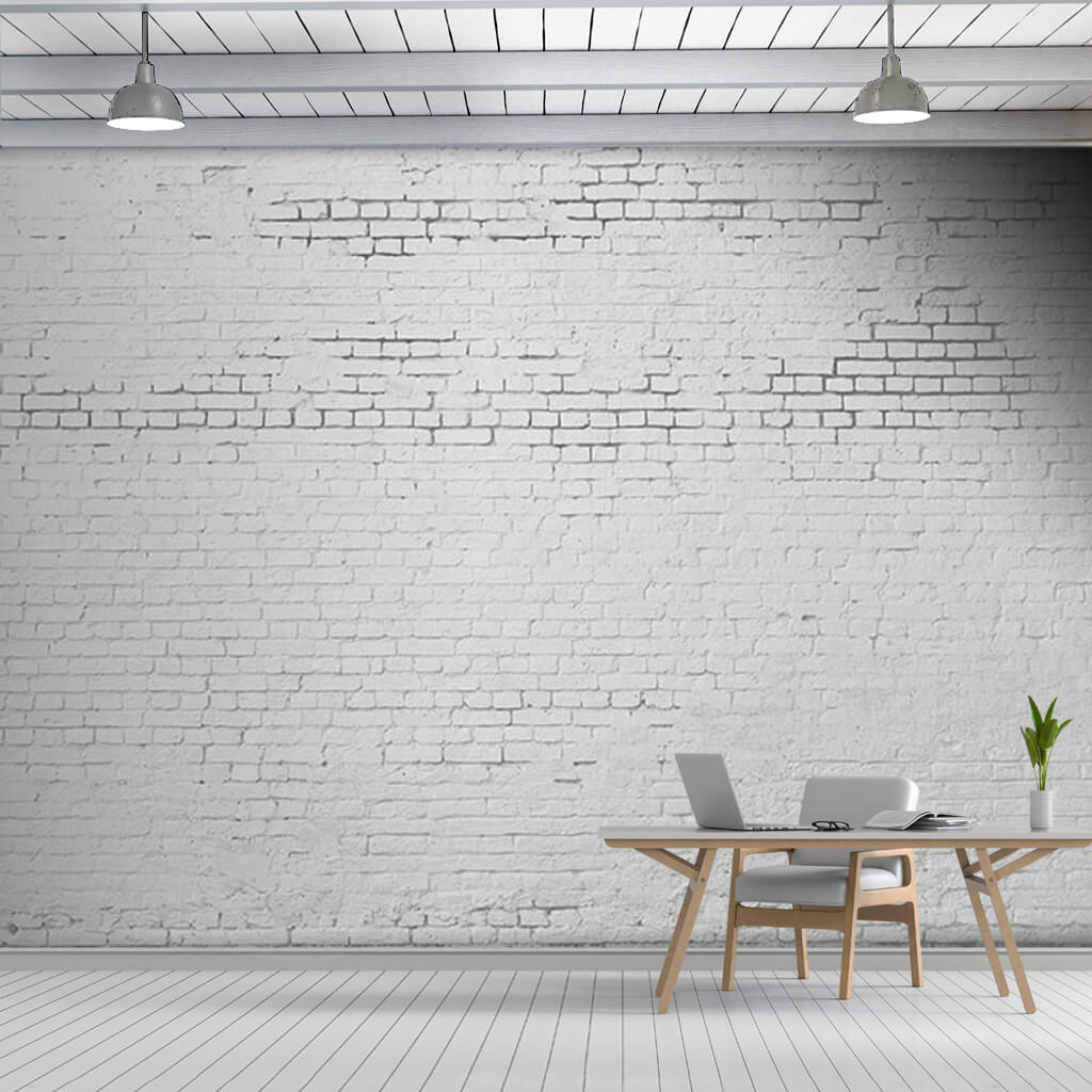 White colored brick knitted sectional 3D custom wall mural