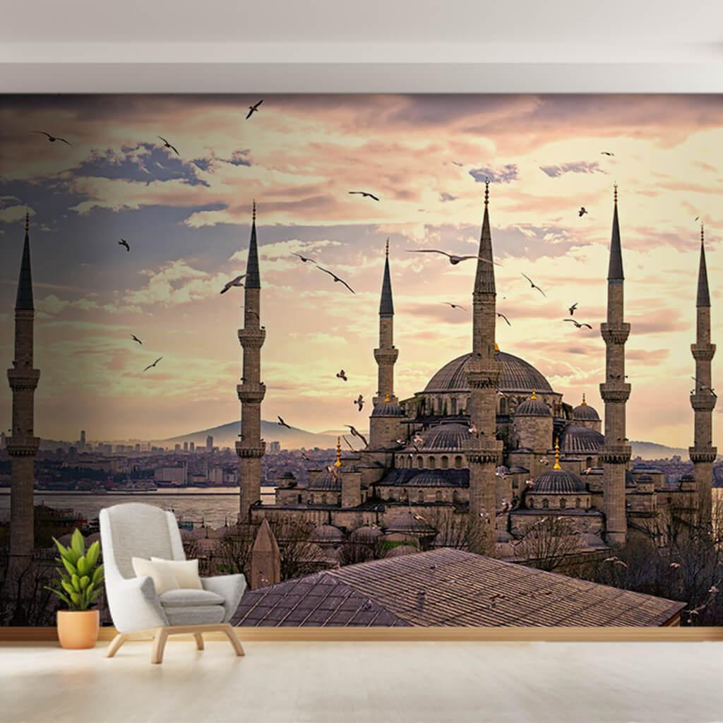 6 minareli Sultan Ahmet Camii ve kuşlar İstanbul duvar kağıdı