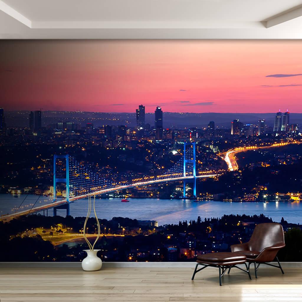 Gece Boğaziçi Köprüsünden akan trafik İstanbul duvar kağıdı