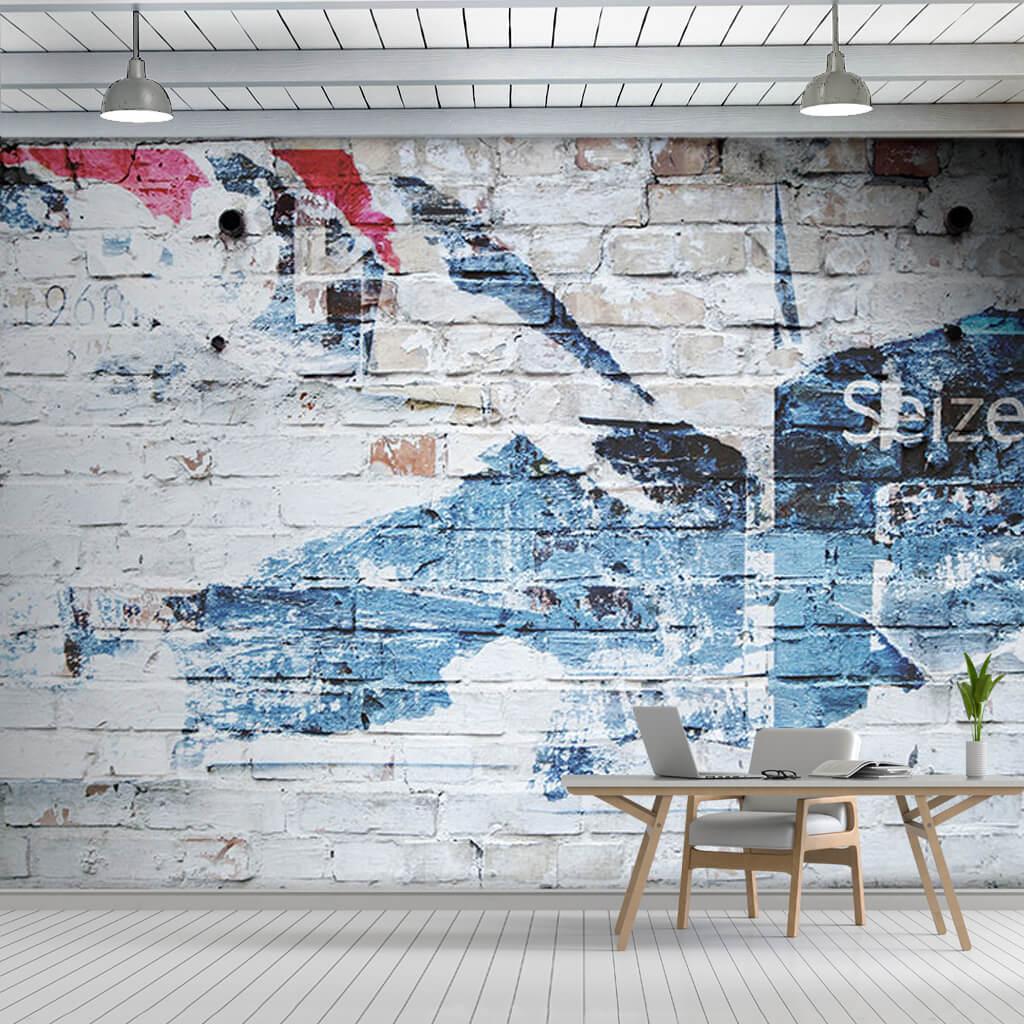 Grafiti dokulu tuğla örme duvar kağıdı