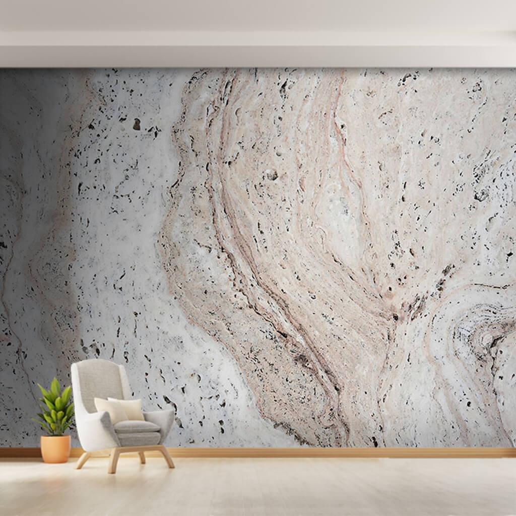 Delikli damarlı krem renk mermer dokulu duvar kağıdı