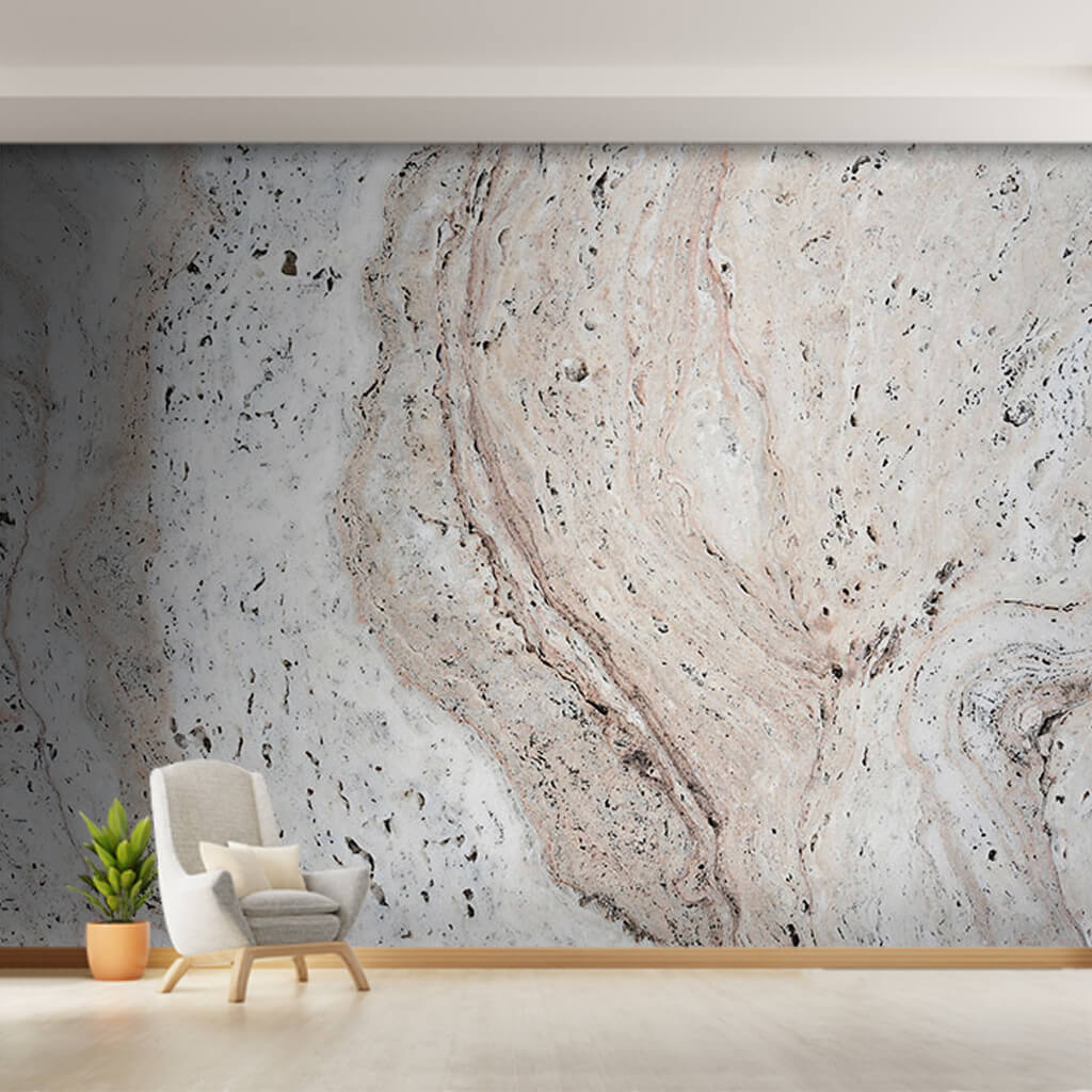 Perforated veined cream color marble textured wall mural