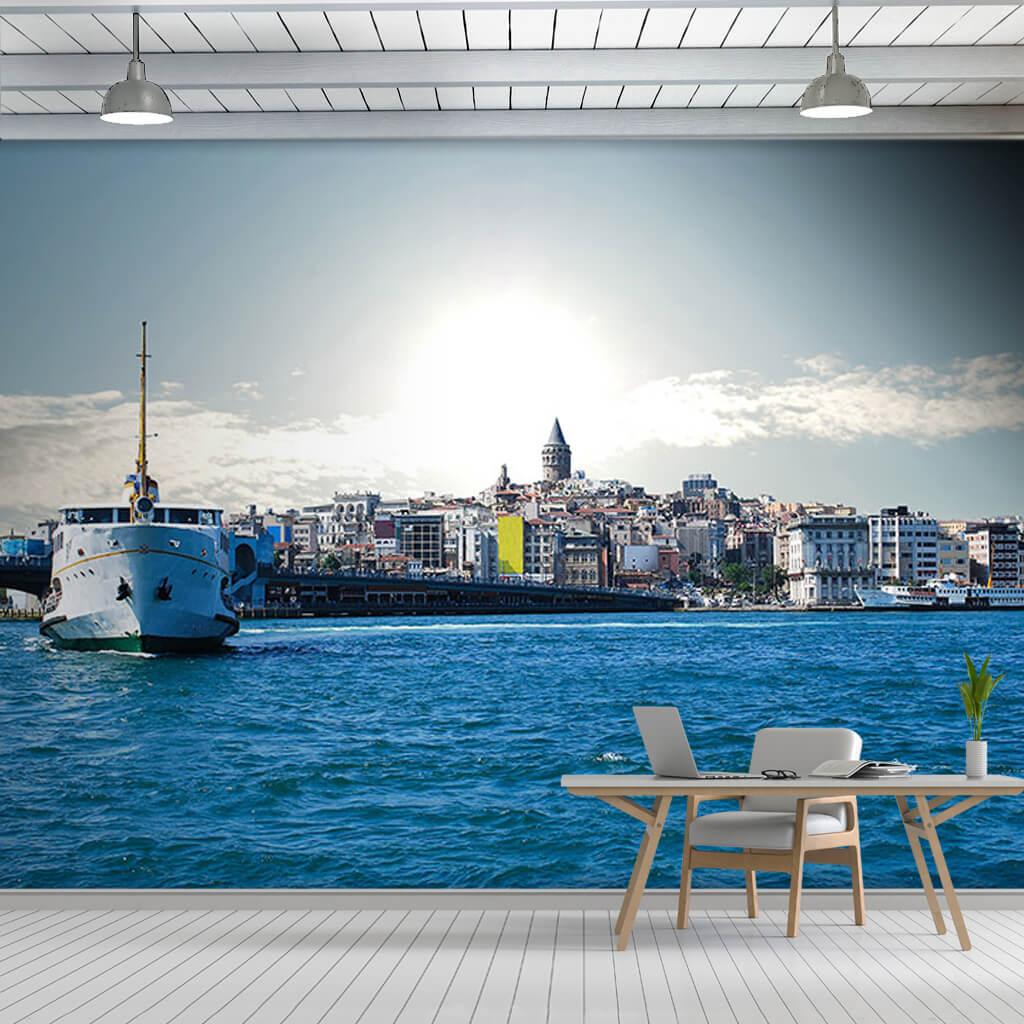 Boğazda vapur Galata Kulesi ve şehir İstanbul duvar kağıdı
