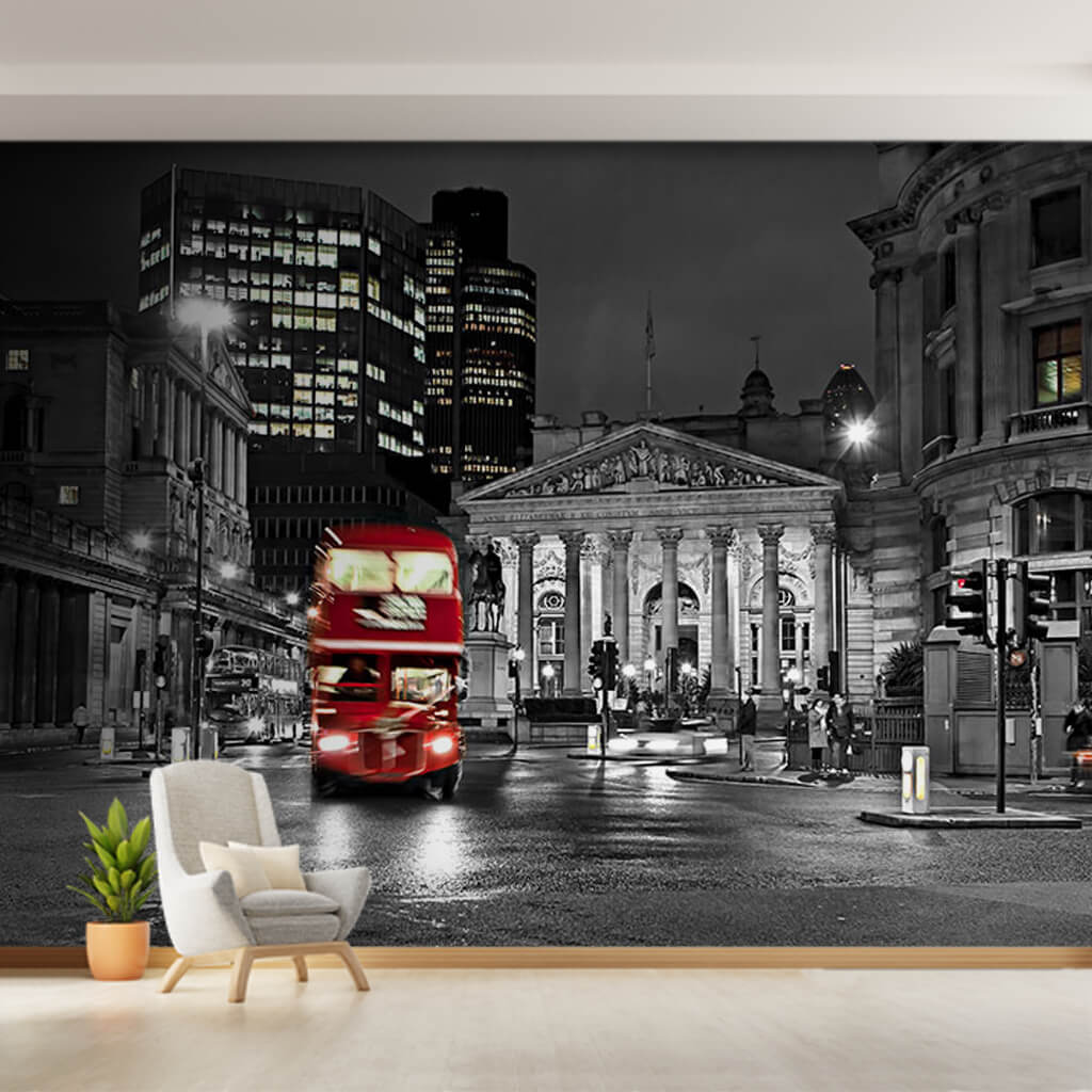 City at night and double decker red bus London wall mural