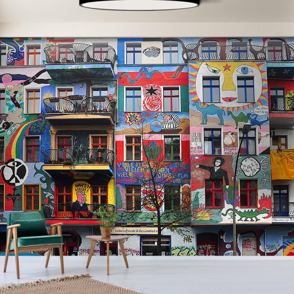 Apartmanlar üzerine grafitti Berlin kişiye özel duvar kağıdı