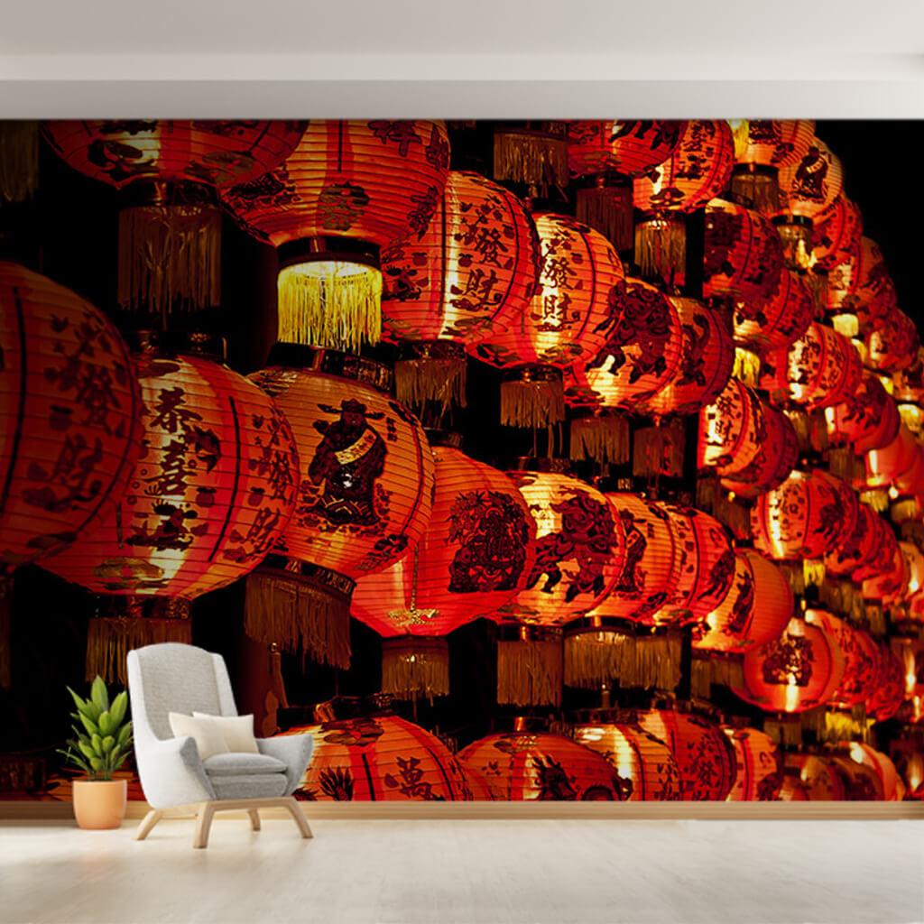 Çin fener festivali kırmızı lambalar uzak doğu duvar kağıdı