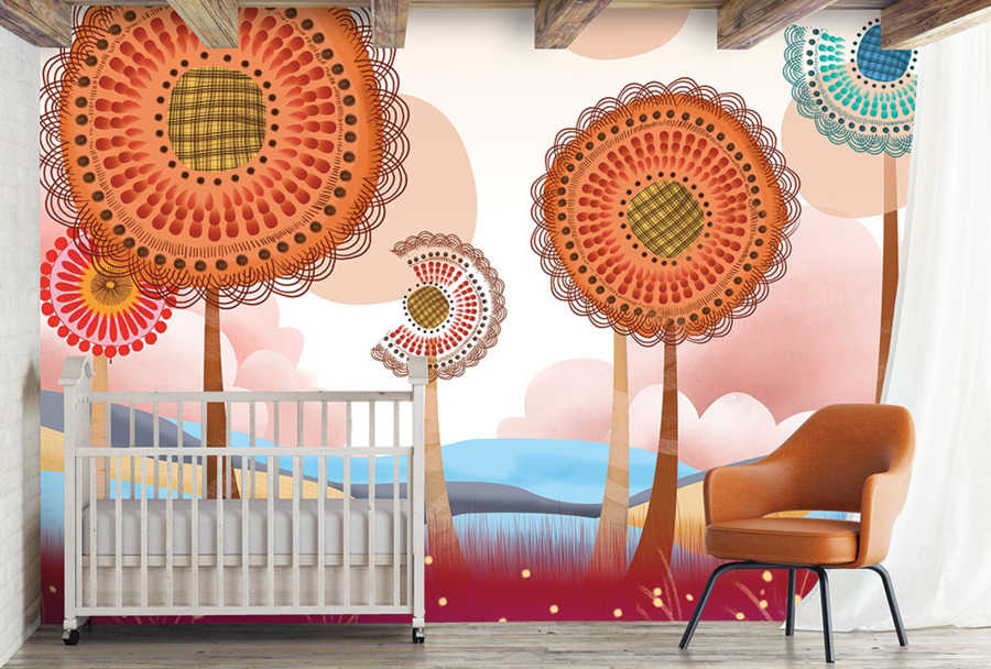 Dandelion and flying seeds in fantasy world baby wall mural