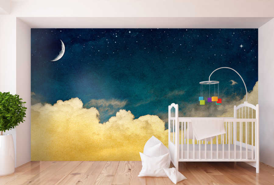 Baby room wallpaper with night moon stars and milky way