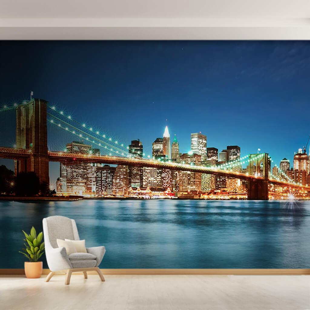 Gece Brooklyn Köprüsü ışıkları Manhattan New York duvar kağıdı