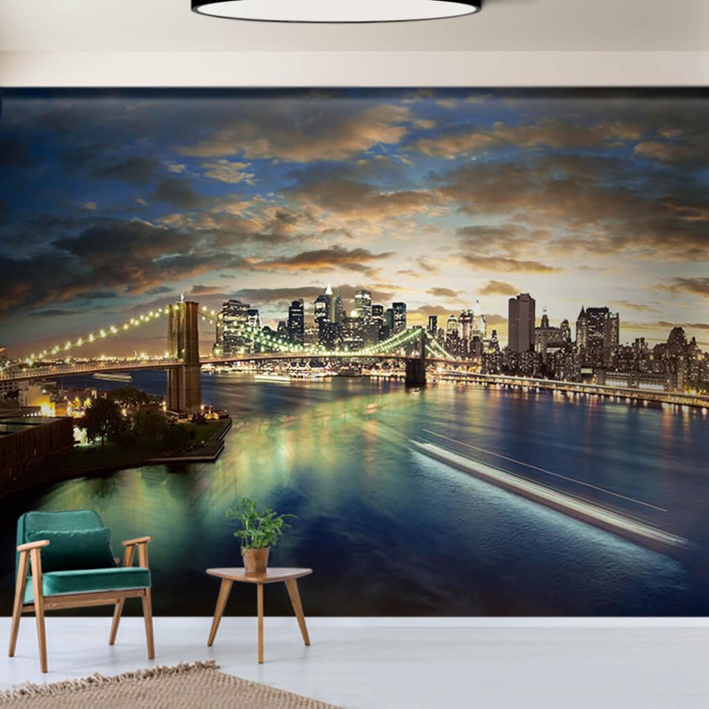 Brooklyn Bridge at Night Long Exposure New York wall mural