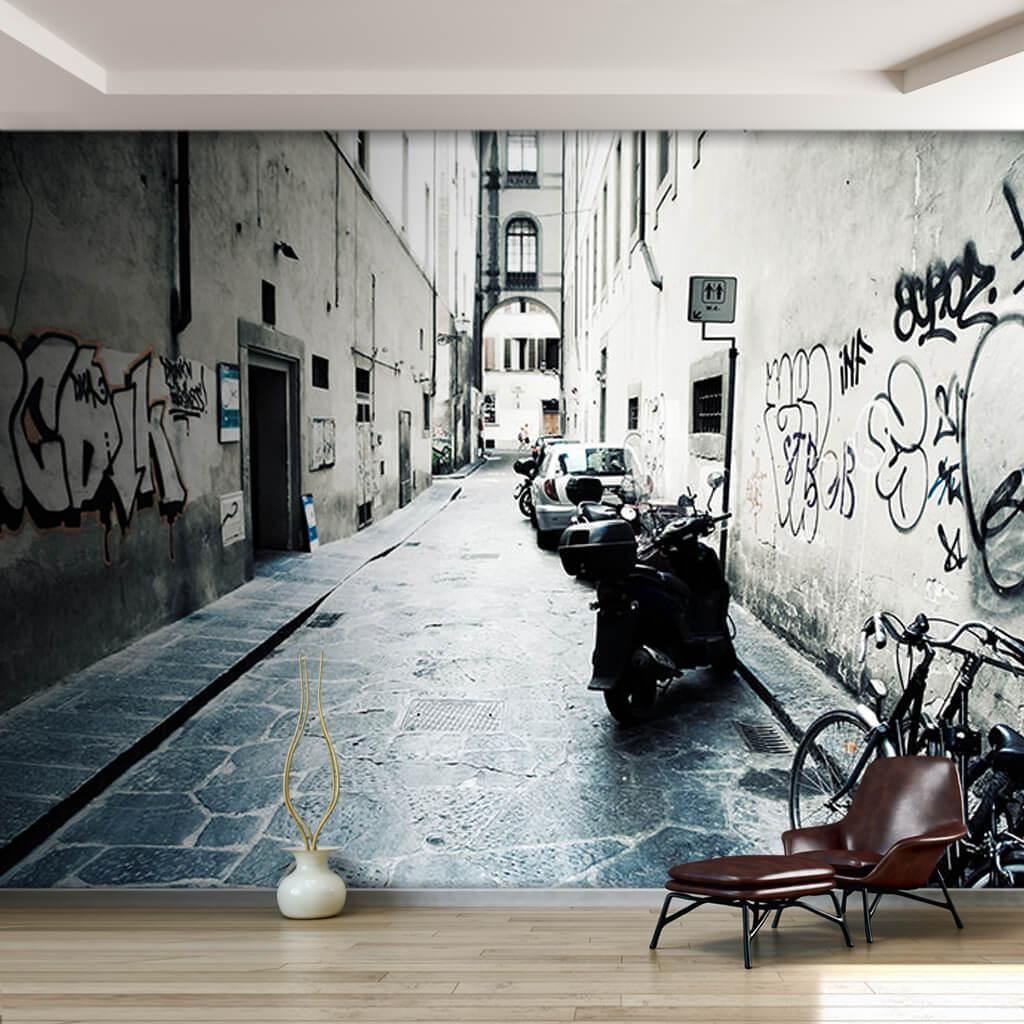Dar sokakta grafittiler yüksek kontrast efekti duvar kağıdı