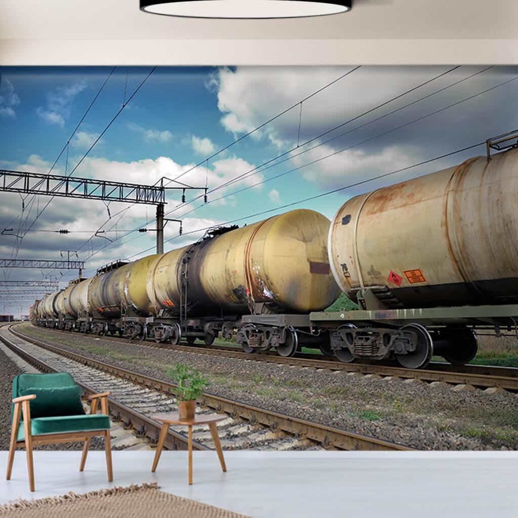 Demiryolunda Petrol Vagonlari Yuk Treni Katar Duvar Kagidi