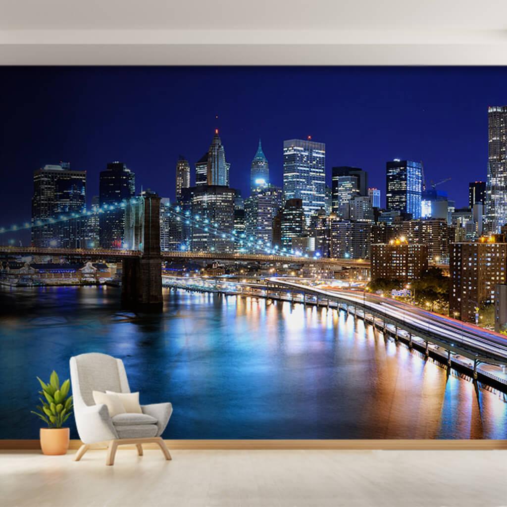 Gece Brooklyn Köprüsü ve Manhattan uzun pozlama duvar kağıdı