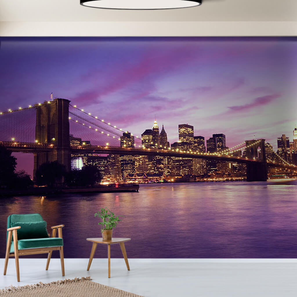 Brooklyn Bridge at night with purple lights custom wall mural