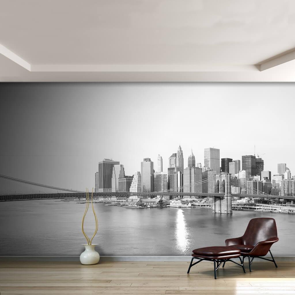 Black white panoramic view of Brooklyn Bridge wall mural