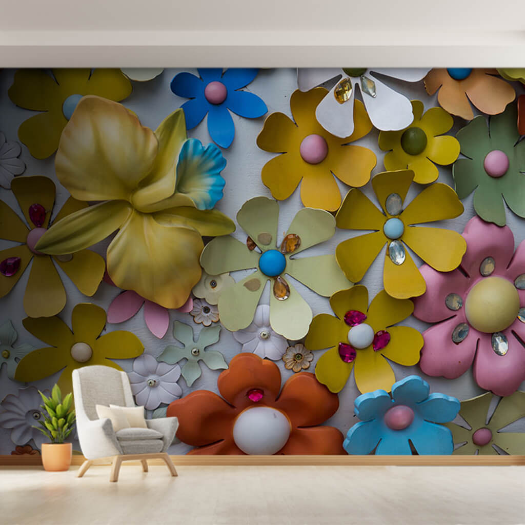 Spring blossom pattern with relief effect custom wall mural