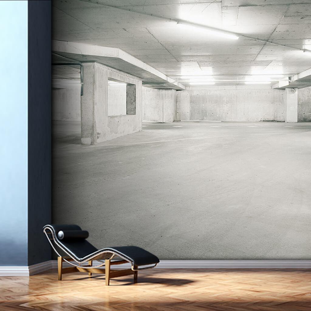 Beyaz beton boş park alanı kişiye özel duvar kağıdı