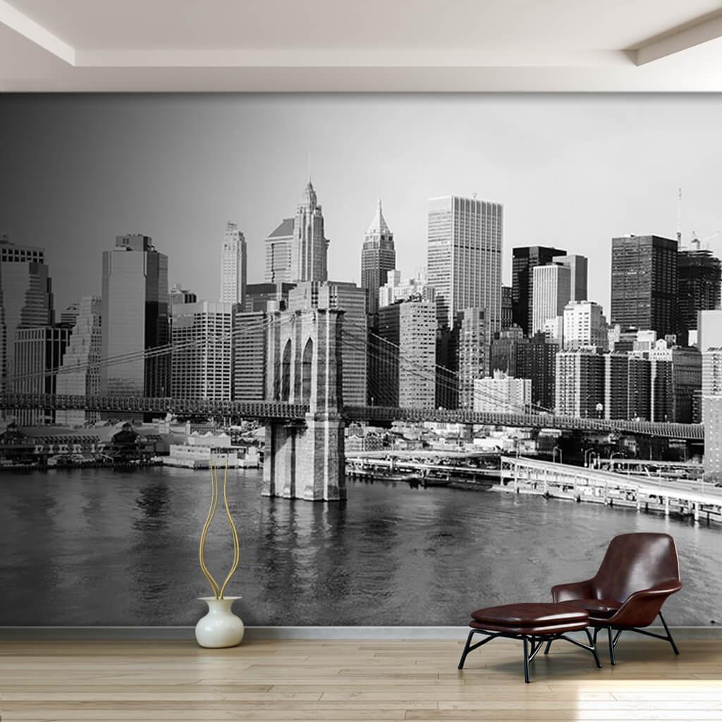 Brooklyn Bridge Manhattan New York Black White Wall Mural