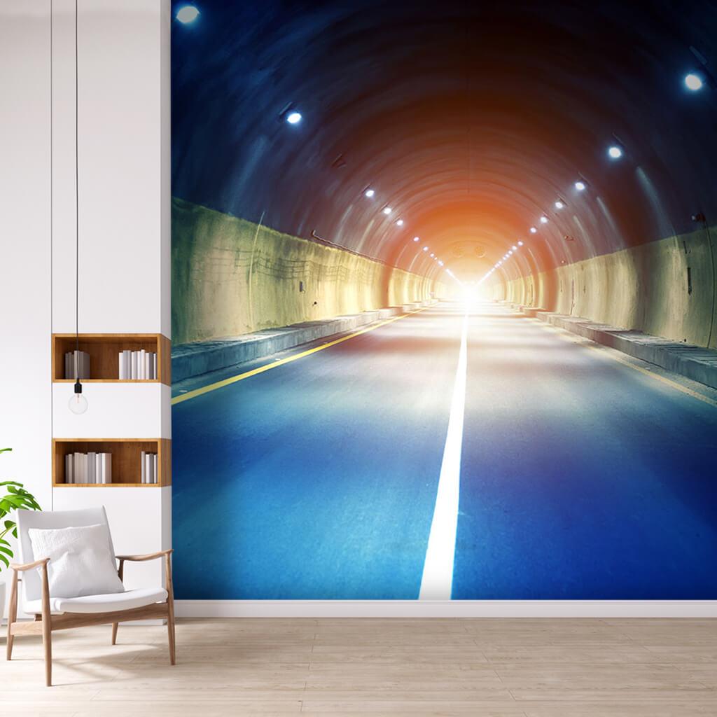 3 boyutlu tünel ve otoyol derinlik efektli duvar kağıdı
