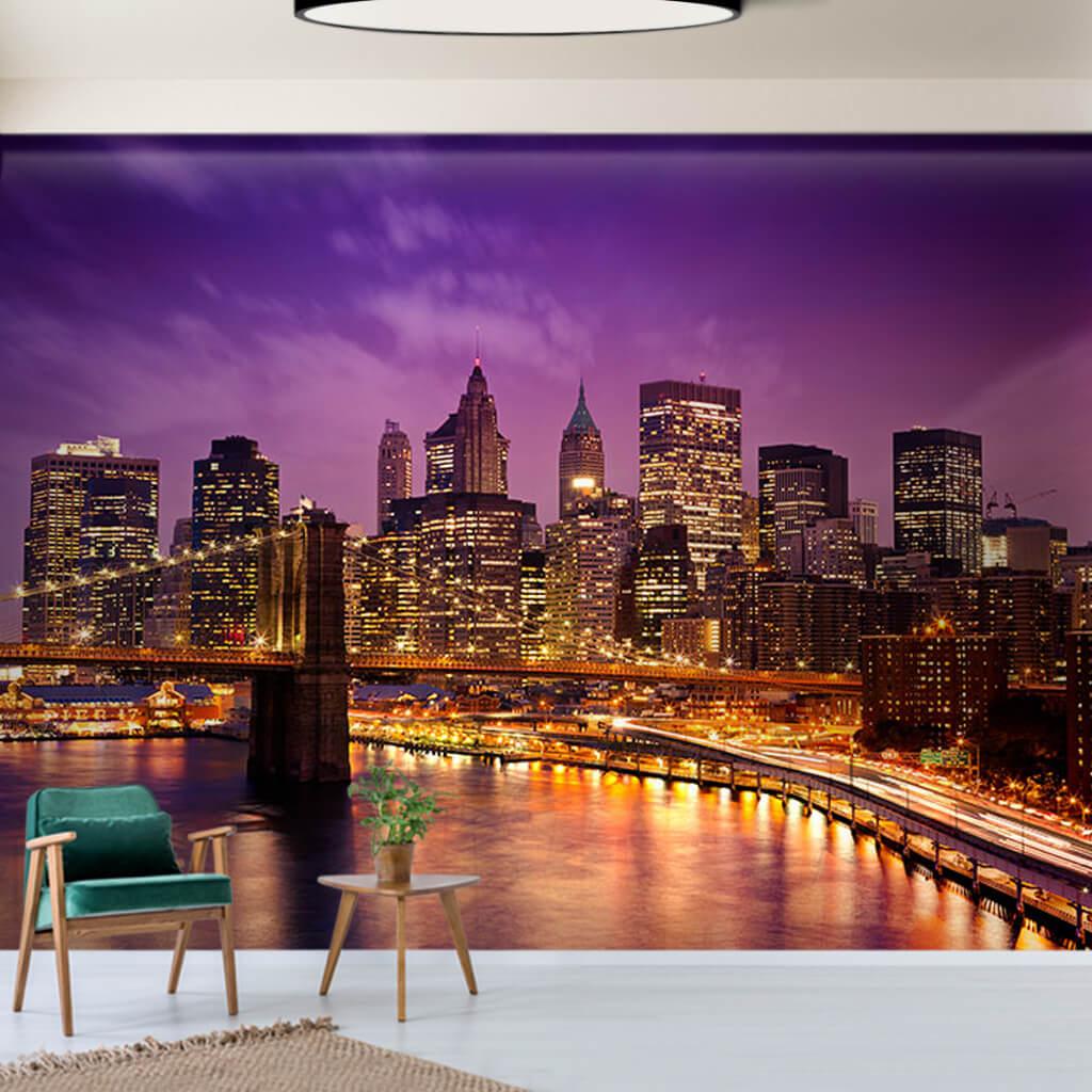 Gece Brooklyn Köprüsü ve Manhattan gökdelenleri duvar kağıdı