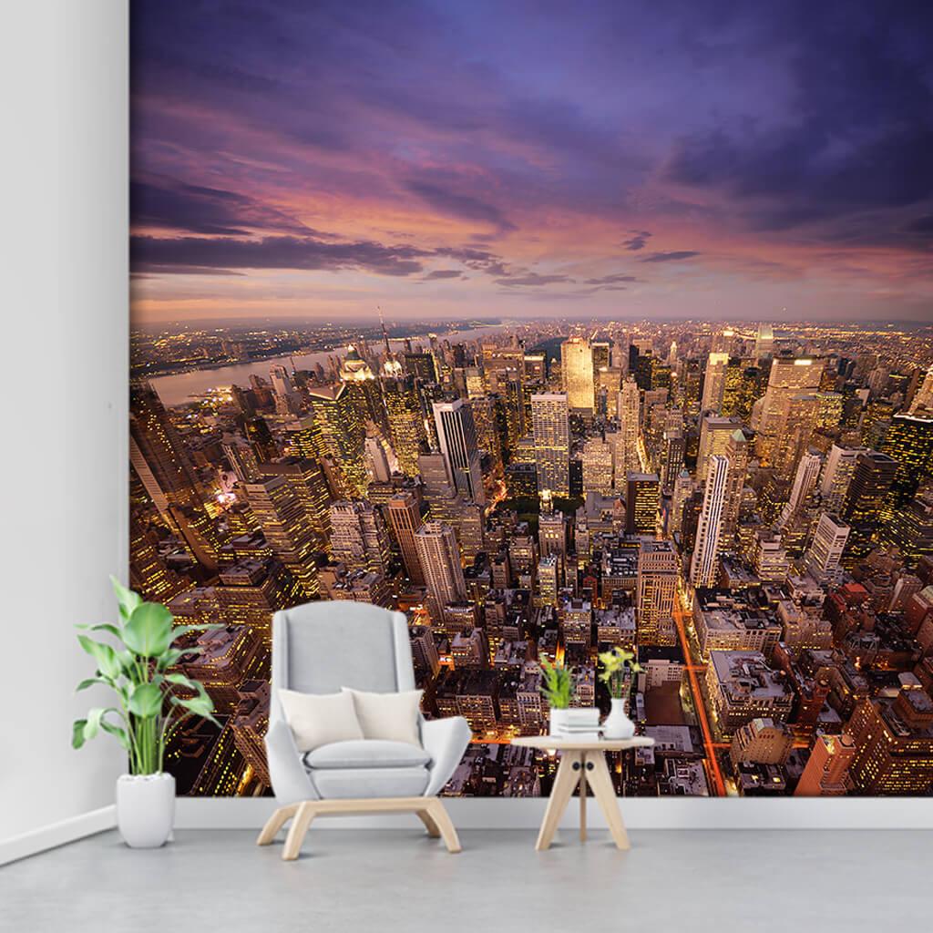 Bird eye view of Skyscrapers New York city custom wall mural