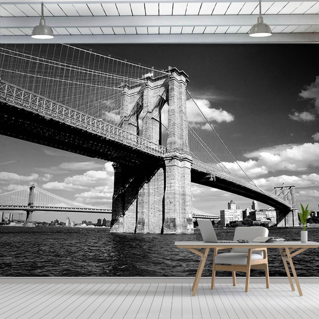 Black and White Brooklyn Bridge New York custom wall mural