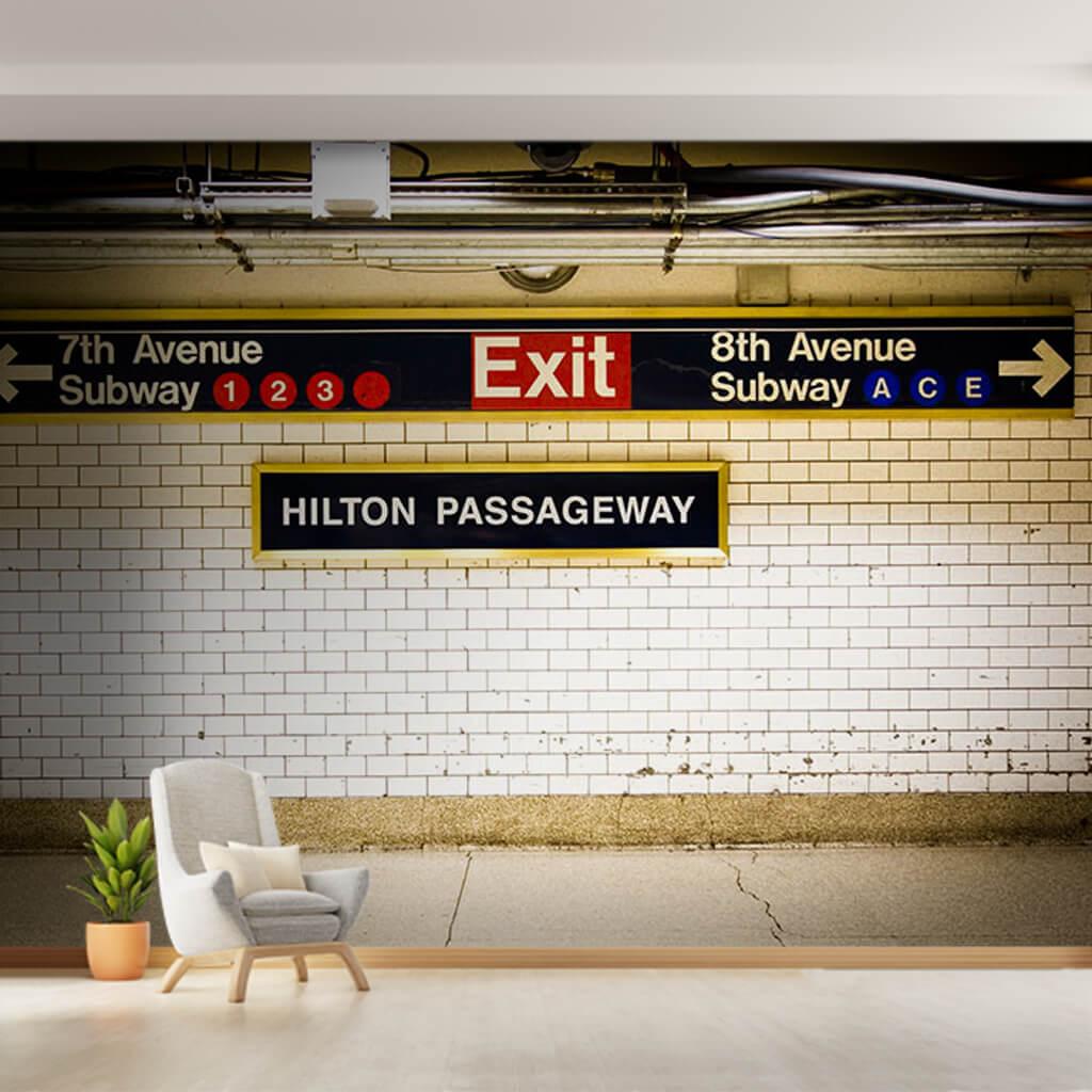 Hilton passageway New York Metrosu Exit çıkış duvar kağıdı